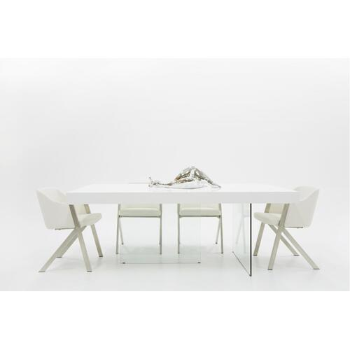 Modrest Encino Modern White & Glass Dining Table