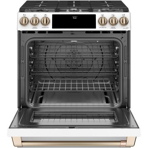 """GE Appliances - Café 30"""" Slide-In Front Control Gas Oven with Convection Range"""