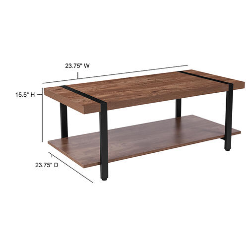 Flash Furniture - Beacon Hill Rustic Wood Grain Finish Coffee Table with Black Metal Legs