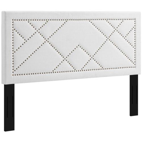 Modway - Reese Nailhead Full / Queen Upholstered Linen Fabric Headboard in White