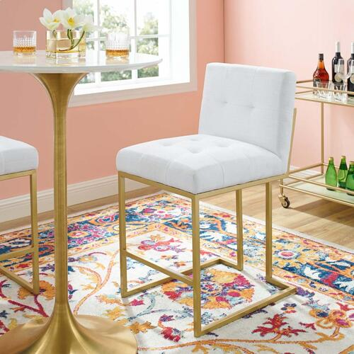 Privy Gold Stainless Steel Upholstered Fabric Counter Stool in Gold White