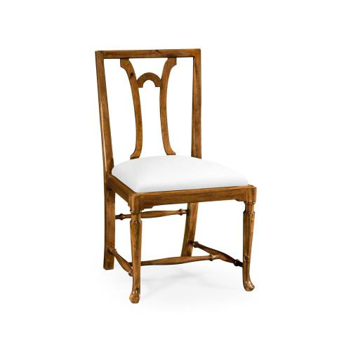 Lewellen Grey Fruitwood Side Chair, Upholstered in COM