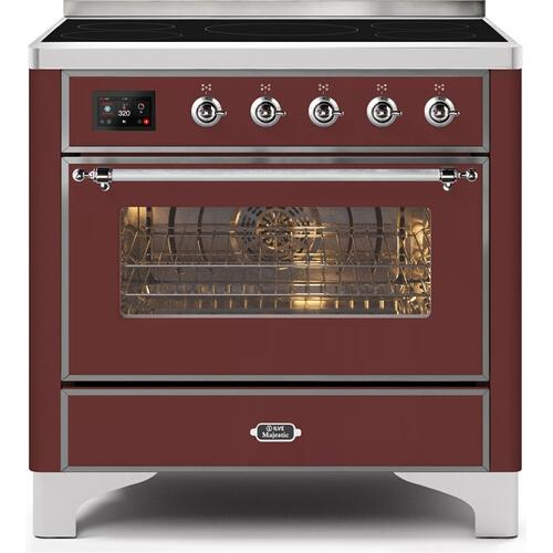 36 Inch Burgundy Electric Freestanding Range