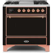 Majestic II 36 Inch Dual Fuel Liquid Propane Freestanding Range in Glossy Black with Copper Trim