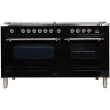60 Inch Glossy Black Dual Fuel Liquid Propane Freestanding Range