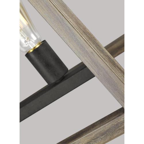 Gannet Linear Chandelier Weathered Oak Wood / Antique Forged Iron