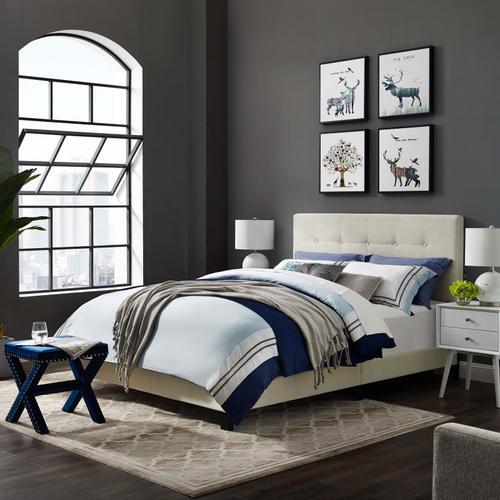 Modway - Amira King Performance Velvet Bed in Ivory