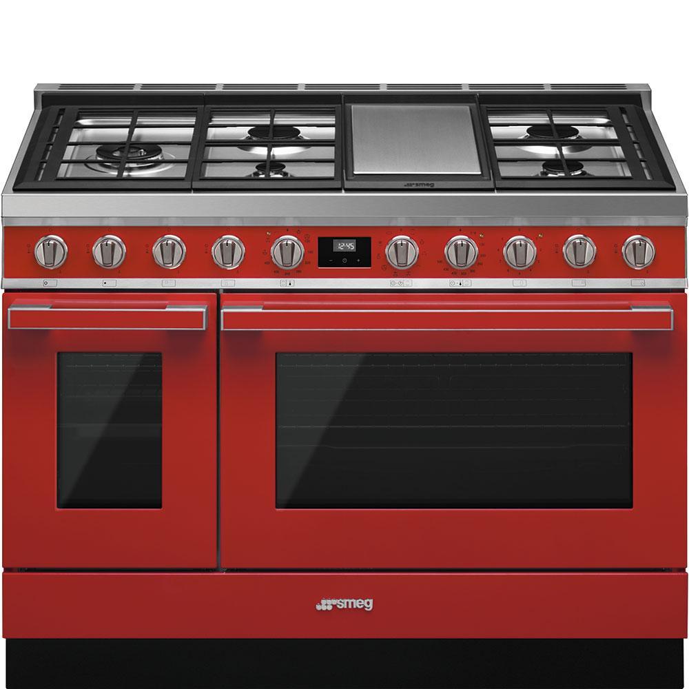"""SmegPortofino Pro-Style Dual Fuel Range, Red, 48"""" X 25"""""""