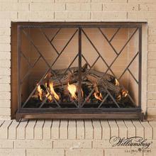 Chinoise Fret Fireplace Screen-Bronze