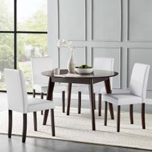 Prosper 5 Piece Faux Leather Dining Set in Cappuccino White