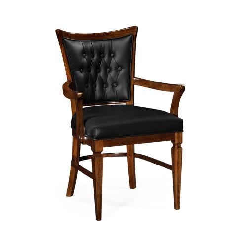 Dining armchair with black leather