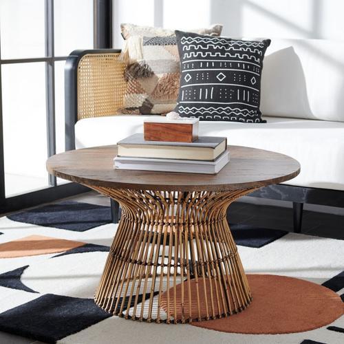 Safavieh - Whent Round Coffee Table - Honey Brown Wash / Black