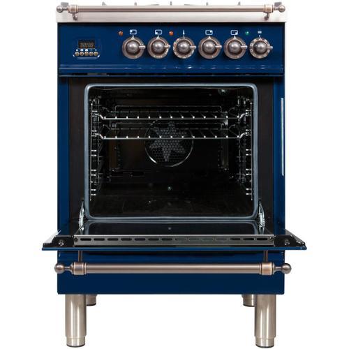 Nostalgie 24 Inch Dual Fuel Liquid Propane Freestanding Range in Blue with Bronze Trim
