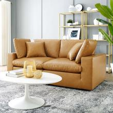 See Details - Commix Down Filled Overstuffed Vegan Leather Loveseat in Tan