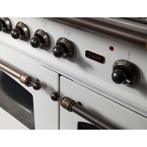 Nostalgie 40 Inch Dual Fuel Liquid Propane Freestanding Range in Antique White with Bronze Trim