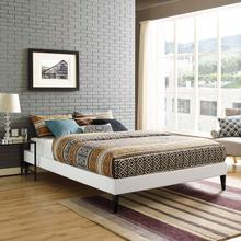 View Product - Tessie Queen Vinyl Bed Frame with Squared Tapered Legs in White