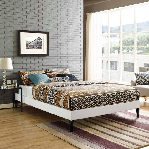 Modway - Tessie Queen Vinyl Bed Frame with Squared Tapered Legs in White