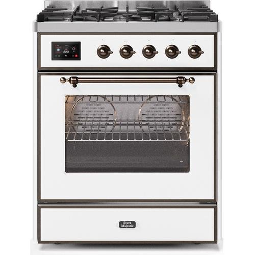 "30"" Inch White Natural Gas Freestanding Range"