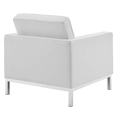 Modway - Loft Tufted Upholstered Faux Leather Armchair in Silver White