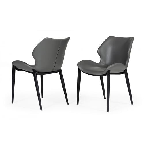 Modrest Instone - Industrial Grey Eco-Leather Dining Chair (Set of 2)