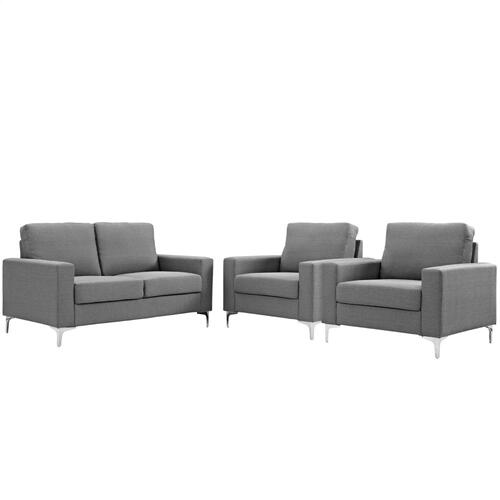 Allure 3 Piece Sofa and Armchair Set in Gray