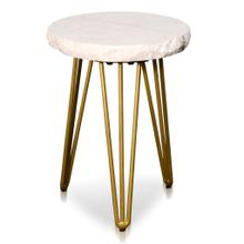ROUND SIDE TABLE  15.3in w X 20.5in ht X 15.3in d  Small White Marble Side Table with Brass Tripod