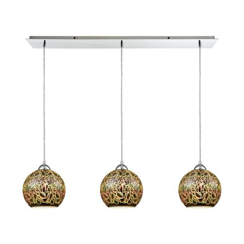 Illusions 3-Light Linear Mini Pendant Fixture in Polished Chrome with 3-D Graffiti Glass