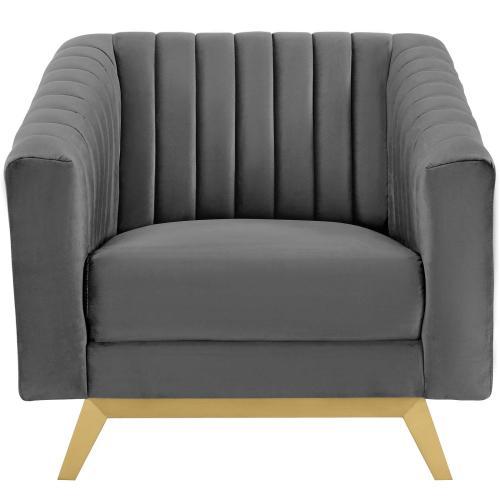 Valiant Vertical Channel Tufted Performance Velvet Armchair in Gray
