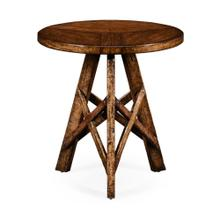 Planked walnut rustic lamp table with circular top
