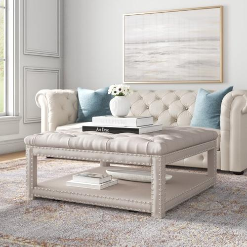 Accentrics Home - Beige Button Tufted Cocktail Ottoman