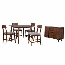 Product Image - Pub Table Dining Set w/Padded Performance Fabric Chairs & Server - Mid Century (6 Piece)