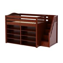 See Details - Mid Loft w/ Staircase on End, 8 Shelf Bookcase & 4-1/2 Drawer Dresser : Full : Chestnut : Curved