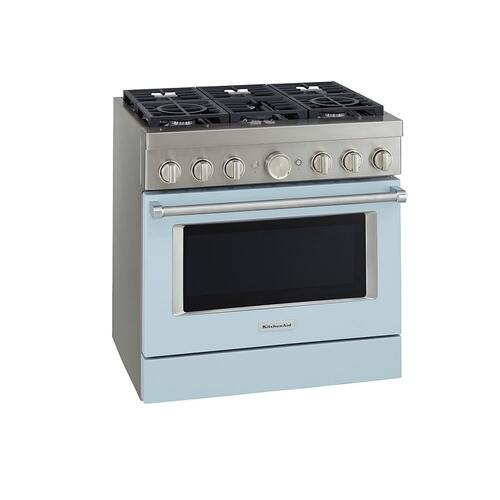 KitchenAid® 36'' Smart Commercial-Style Gas Range with 6 Burners - Misty Blue
