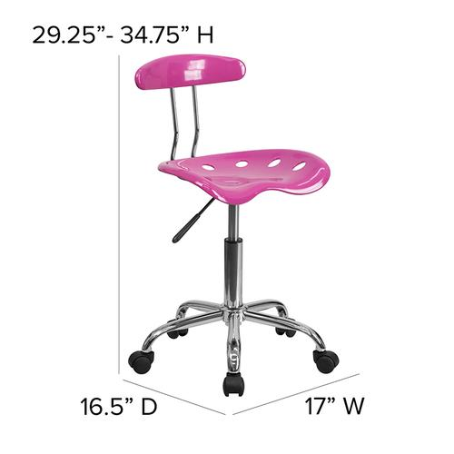 Flash Furniture - Vibrant Candy Heart and Chrome Swivel Task Office Chair with Tractor Seat