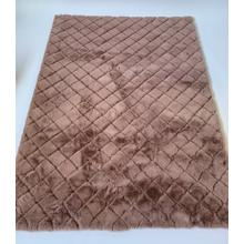 Soft Hand Carved Geometric Design Valentine Check Area Rug by Rug Factory Plus - 5' x 7' / Taupe
