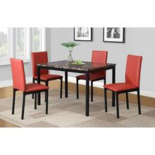 Citico 5-Piece Metal Dinette Set with Laminated Faux Marble Top, Red