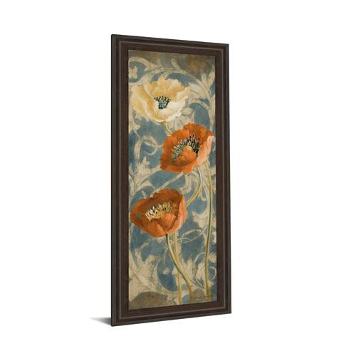 "Classy Art - ""Poppies De Bleu II"" By Lanie Loreth Framed Painted Print Wall Art"