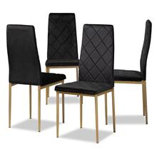 View Product - Baxton Studio Blaise Modern Luxe and Glam Black Velvet Fabric Upholstered and Gold Finished Metal 4-Piece Dining Chair Set