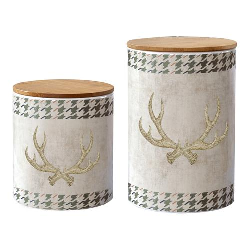 Hiend Accents - 2 PC Antler Design Canister Set