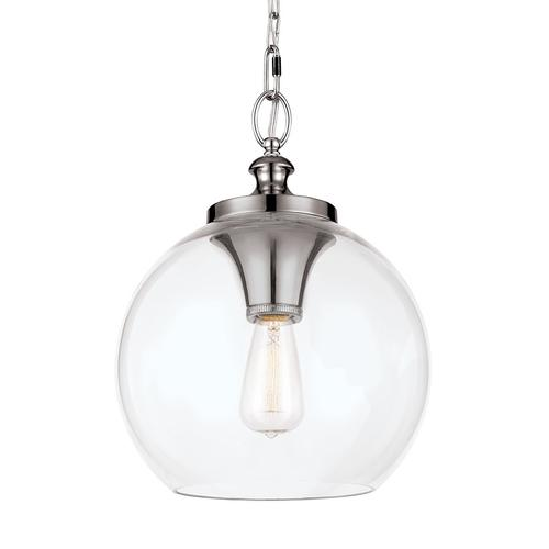 Tabby Clear Glass Pendant Polished Nickel