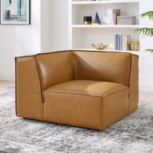 Restore Vegan Leather Sectional Sofa Corner Chair in Tan