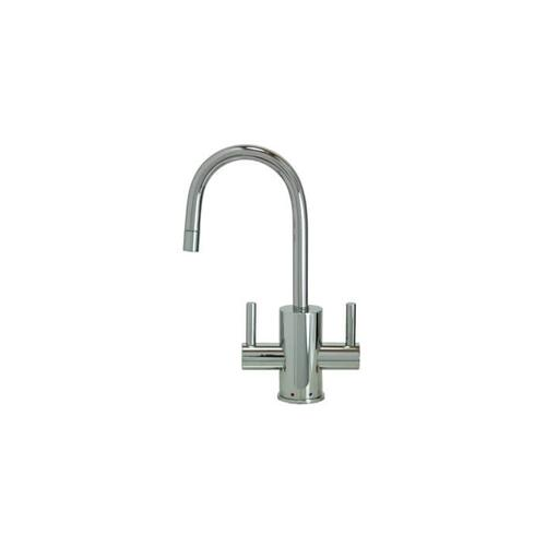 Hot & Cold Water Faucet with Contemporary Round Body & Handles - Polished Chrome