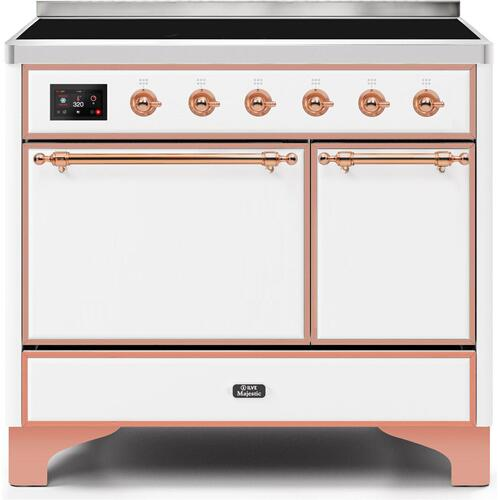Majestic II 40 Inch Electric Freestanding Range in White with Copper Trim