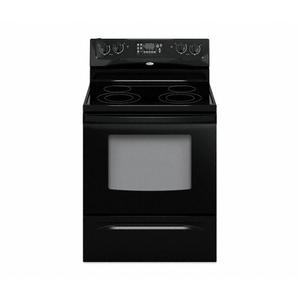 Black-on-Black 30 in. Self-Cleaning Freestanding Electric Ceramic Glass Range (This may be a Stock Photo, actual unit (s) appearance may contain cosmetic blemishes. Please call store if you would like additional pictures). This unit carries our 6 Month warranty, MANUFACTURER WARRANTY and REBATE NOT VALID with this item. ISI 37722 B