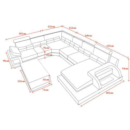 Divani Casa T703 Modern Black & White Eco-Leather Sectional Sofa