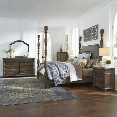 King California Poster Bed, Dresser & Mirror, Chest, N/S