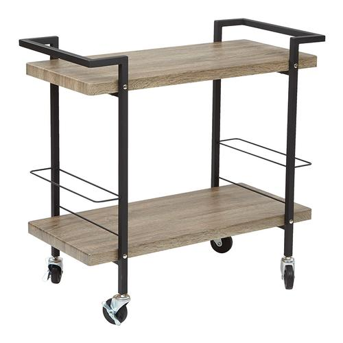 Maxwell Serving Cart In Ash Veneer Finish, Black Powder Coated Steel Frame By Osp Designs