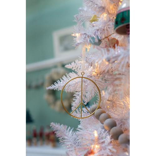 "Accent Decor - Peace Sign Ornament (Size:4"", Color:Gold)"