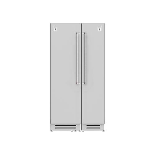 "Hestan - 42"" Column Refrigerator (L) and Freezer ® Ensemble Refrigeration Suite - Tin-roof"