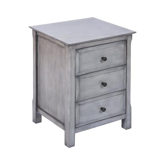 Pierpont 3-drawer Accent Table In Grey